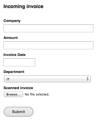 Incoming Invoices form
