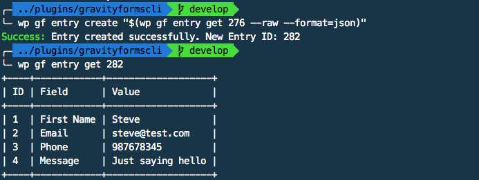 Gravity Forms CLI: using the output of the entry get command in entry create