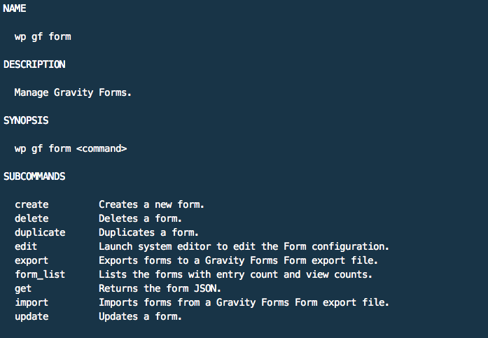 Gravity Forms CLI: wp help gf form
