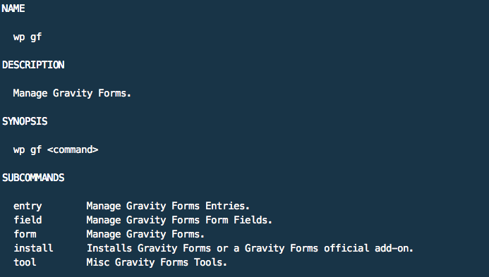 Gravity Forms CLI: wp help gf