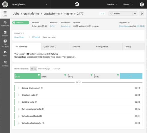 Gravity Forms Acceptance tests on CircleCI